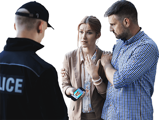Parents showing law enforcement their child's ID in an emergency.