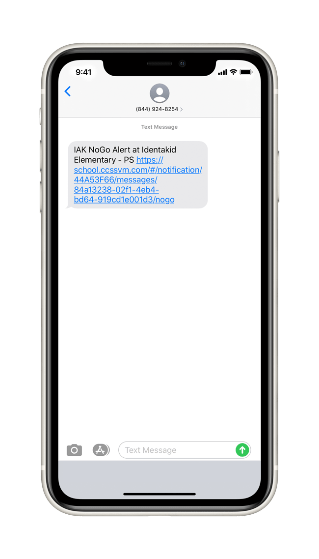 Text message notification that iVisitor Management sends out to admins