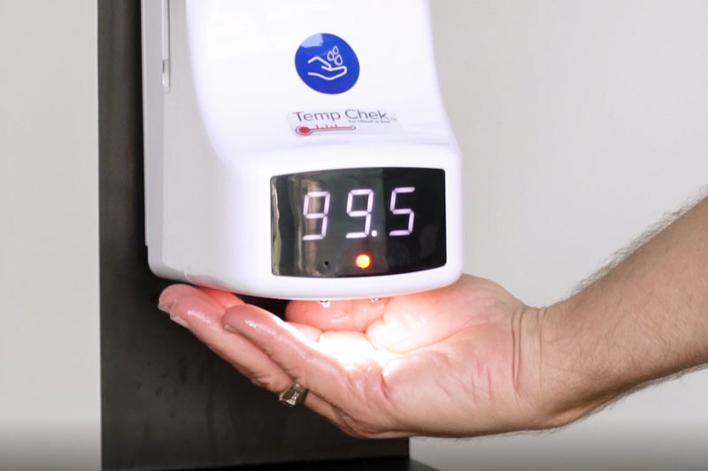 The alarm function on our Temp Chek™ thermometers emits a beeping noise and flashes the display when an individual's temperature reads over 99°F.
