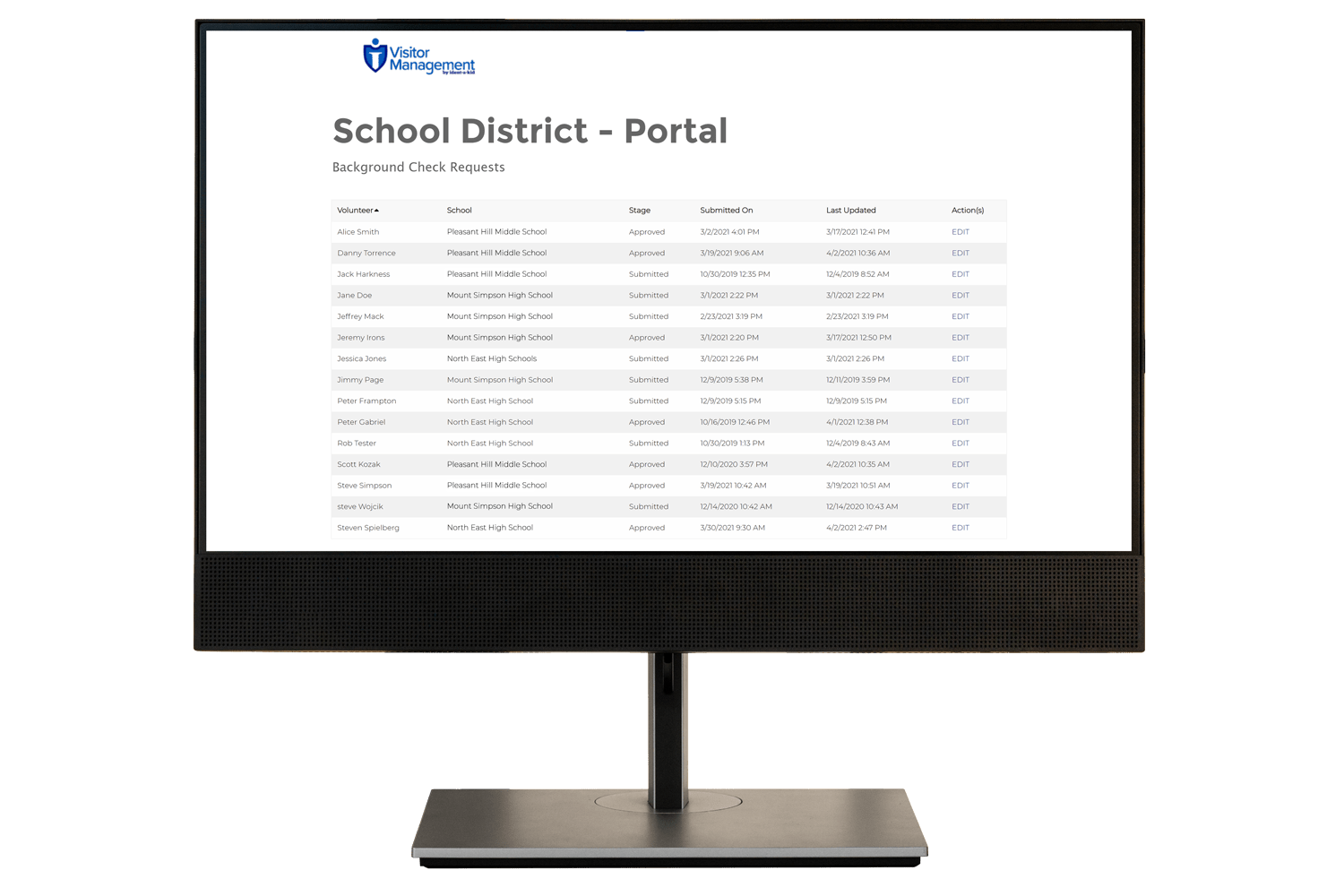 Ident-A-Kid's School District Portal for the school volunteer management system.