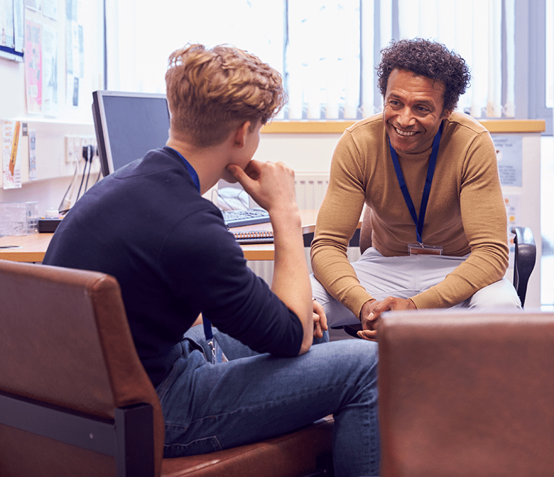 College student having a session with a counselor.